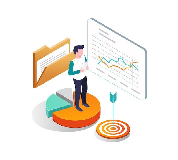 Een belegger kijkt naar bedrijfsanalysegegevens