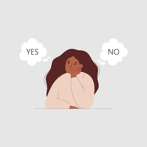 Een besluiteloze vrouw kan niet beslissen ja of nee in een wolk van gedachten