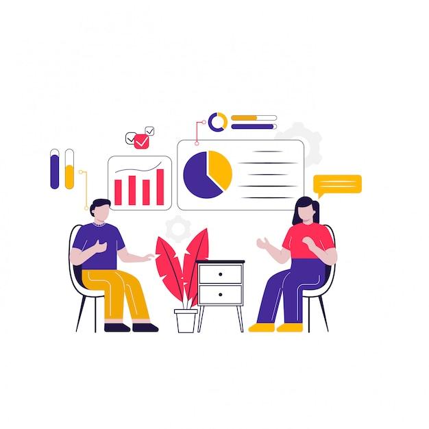 Een bespreking van geïllustreerd conceptmarketingverkeer
