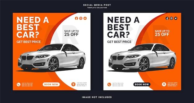 Een beste auto instagram-banner social media post-sjabloon nodig