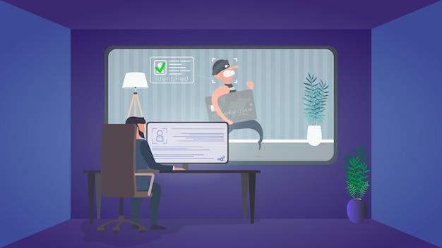 Een bewaker kijkt naar een inbreker in een beveiligingskamer. identificatie van een dief. een dief steelt een bankkaart in de buurt van een geldautomaat. veiligheidsconcept. vector.