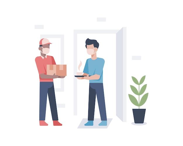 Een bezorger bezorgt een doospakket aan het huis van de klant en presenteert hete koffie met huiseigenaar als waardering en cadeau-illustratie