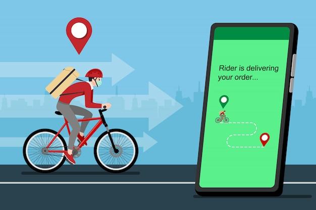 Een bezorger die een pakket met de fiets aan de klant levert.