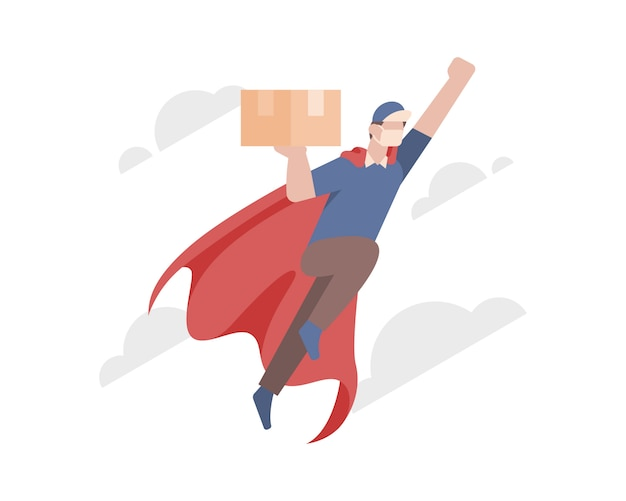 Een bezorger draagt een rode capes en een gezichtsmasker en vliegt om een doos of pakket af te leveren aan de klant