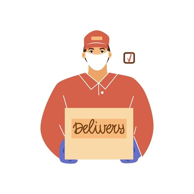 Een bezorger in een uniform en een beschermend masker, met handschoenen aan. hij heeft een doos in zijn handen. levering tijdens quarantaine. vector illustratie.