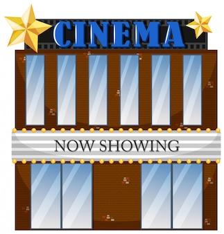 Een bioscoop die op witte achtergrond voortbouwen