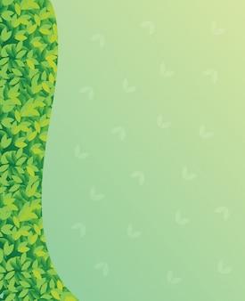 Een blanco groenboek met groene bladeren