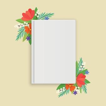 Een blanco witte gesloten boek met bloemen in vlakke stijl