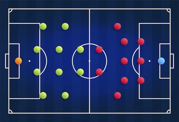 Een blauw cybervoetbalveld met een tactisch schema van de opstelling van spelers van twee voetbalteams op het bord, organisatie van een speldiagram voor een fantasy league-coach