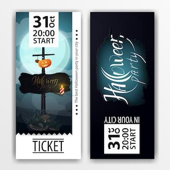 Een blauw kaartje voor het halloweenfeest