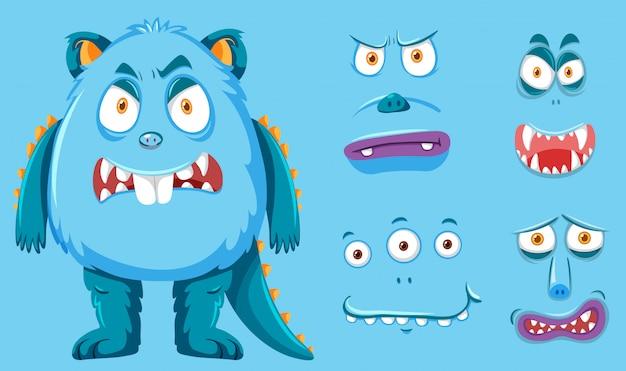 Een blauw monster en gezichtsset
