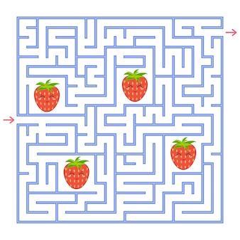 Een blauw vierkant labyrint. verzamel alle aardbeien en zoek een uitweg uit het doolhof.