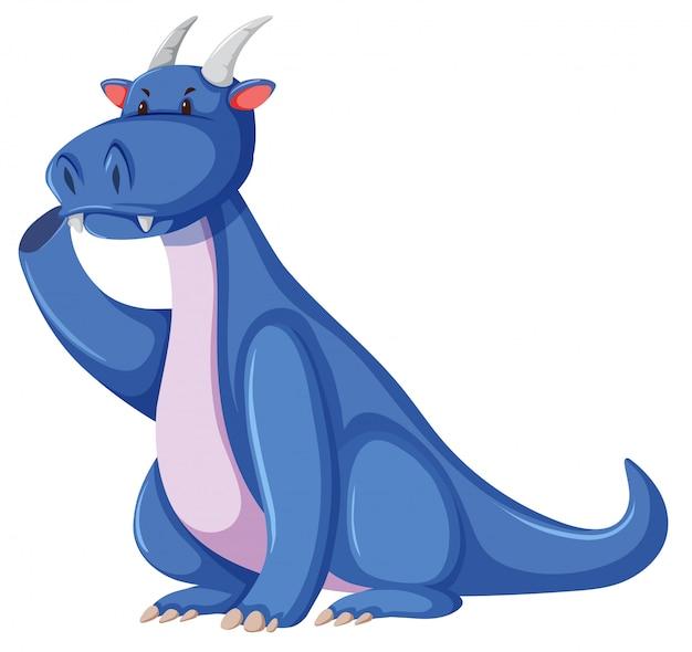 Een blauwe draak op witte achtergrond