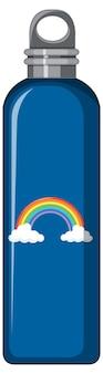 Een blauwe thermofles met regenboogpatroon