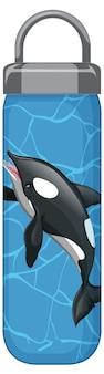 Een blauwe thermosfles met orka-walvispatroon