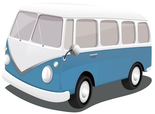 Een blauwe vintage bestelwagen