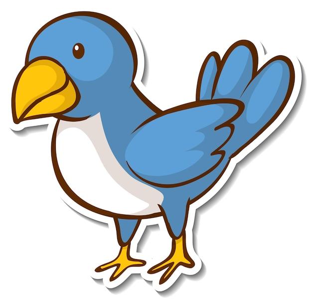 Een blauwe vogel die op een tak staat sticker