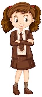 Een blij meisje in bruin uniform