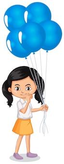 Een blij meisje met blauwe ballonnen