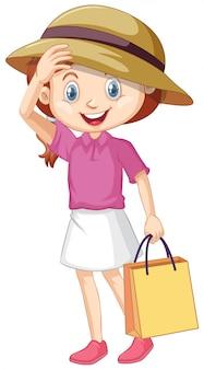 Een blij meisje met papieren zak