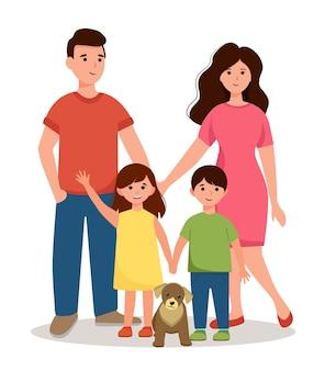 Een blije familie. mama, papa met kinderen.