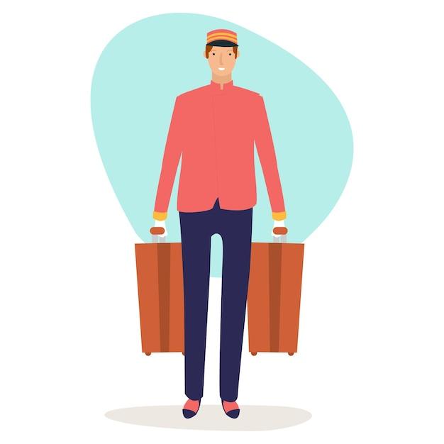 Een blije piccolo draagt twee koffers van een hotelgast