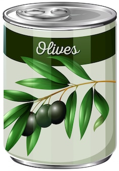 Een blik met zwarte olijven