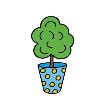Een bloem in een blauwe pot kamerplant doodle style