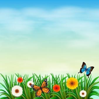 Een bloementuin met vlinders