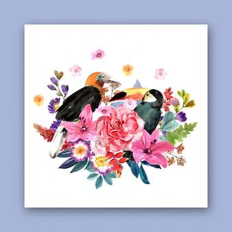 Een boeket bloemen met vogel voor design. premium vector