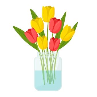 Een boeket tulpen in een helderglazen potje. een huisdecor-element. een symbool van lente, zomer.