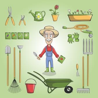 Een boer met zijn gereedschap