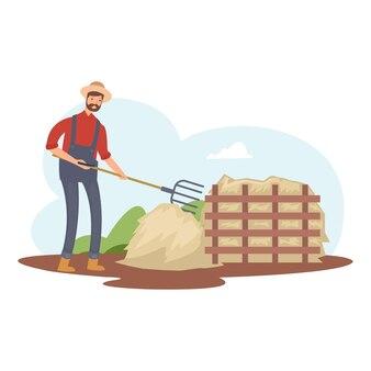 Een boer probeert dierlijke mest schoon te maken voor kunstmest
