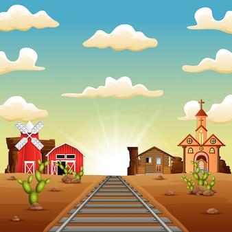 Een boerderij in de stad in het wilde westen