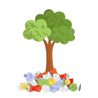 Een boom in een stapel afval. ecologieconcept, afvalrecycling, afvalverwerking. vectorillustratie geïsoleerd op een witte achtergrond.