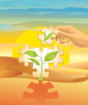 Een boom planten in de woestijn.