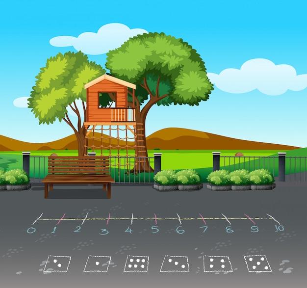 Een boomhuis in aardlandschap