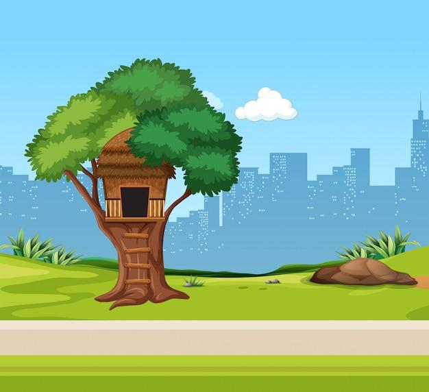 Een boomhut in het park