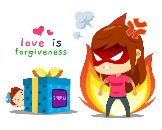 Een boos meisje en een jongen met cadeau