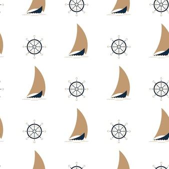 Een boot met zeilen op de golven. schip stuurwiel. naadloze achtergrond in een mariene stijl.