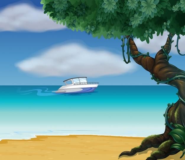 Een boot midden op zee