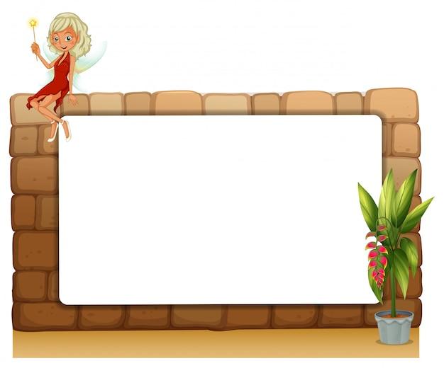 Een bord op een muur met een fee en een pot met planten