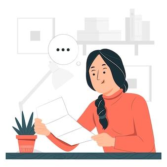 Een brief concept illustratie lezen