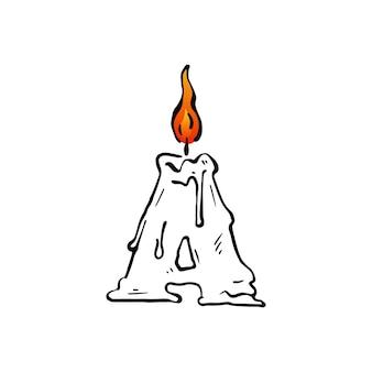 Een brief kaars verjaardagsfeestje hoofdletters markeren vuur licht logo vector pictogram illustratie