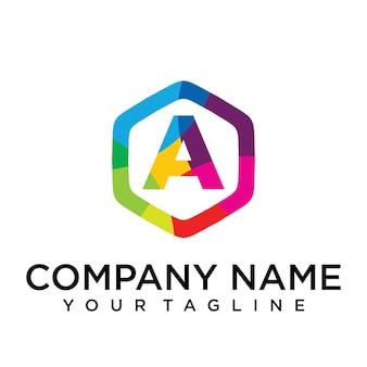 Een brief logo pictogram zeshoek ontwerpsjabloon element