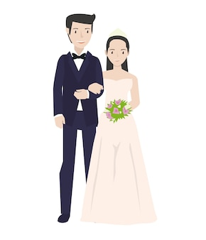 Een bruid en zijn paar dragen witte jurk in hun bruiloften