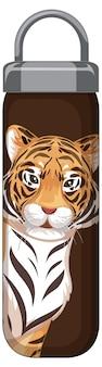 Een bruine thermosfles met tijgerpatroon