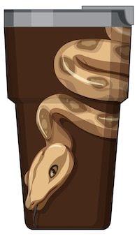 Een bruine thermoskan met slangenpatroon