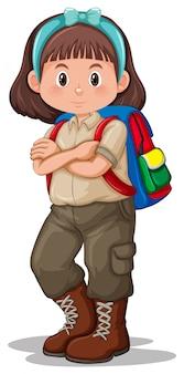 Een brunette girl scout karakter