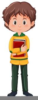 Een brunette jongen student karakter